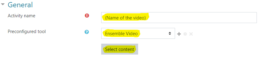 Image: name activity, choose external tool, and select content in Nexus