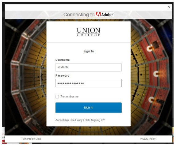 Image: Union College Single Sign-On screen