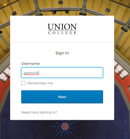 Image: Union College login in page