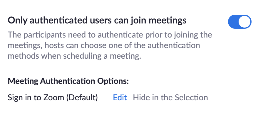 Screenshot of Authenticate User settings in Zoom