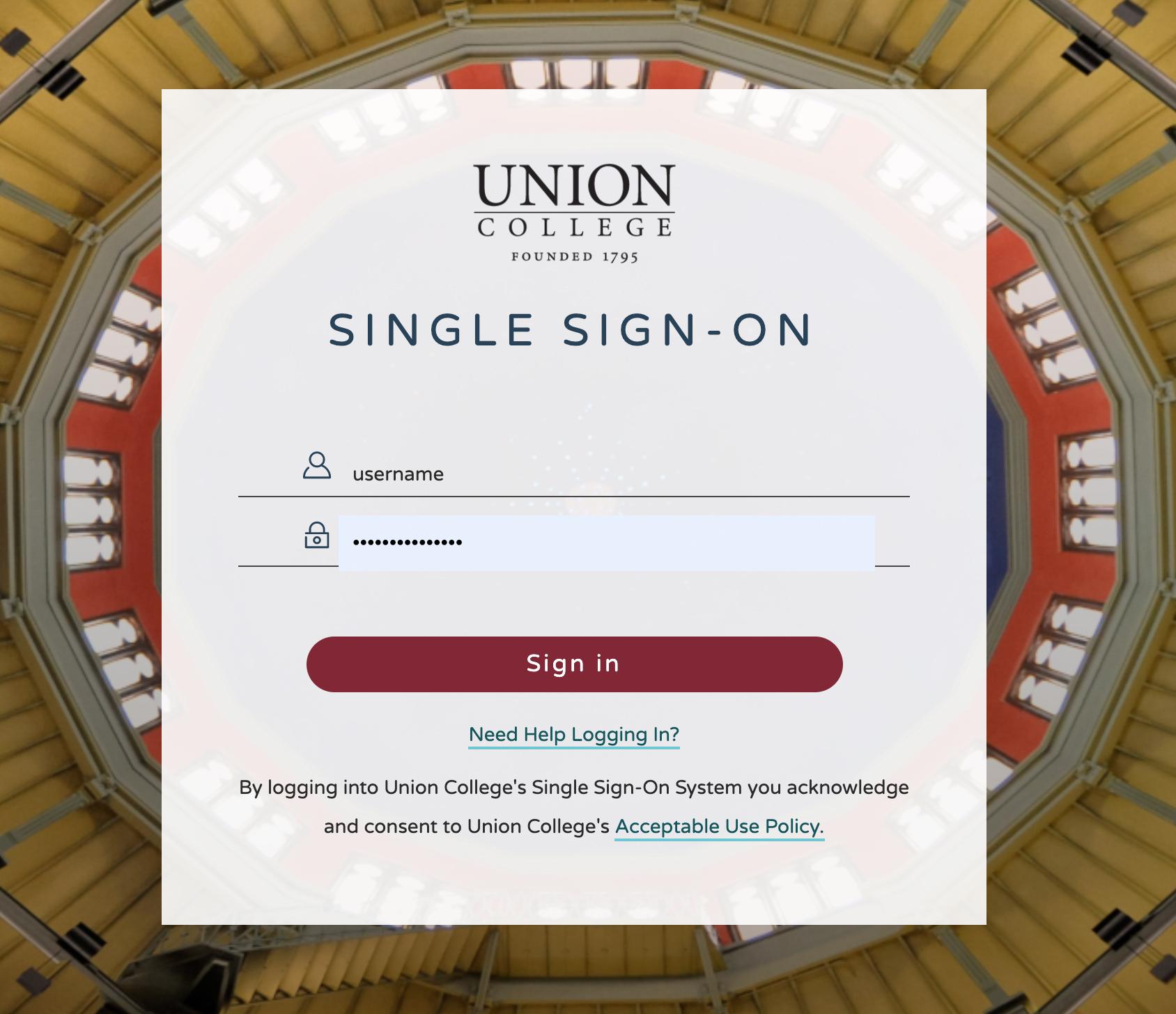 Image: Union College SSO screenshot