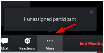 Image: Zoom unassigned student alert for pre-assigned rooms