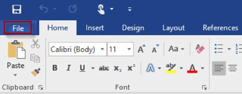 Image: Word File tab