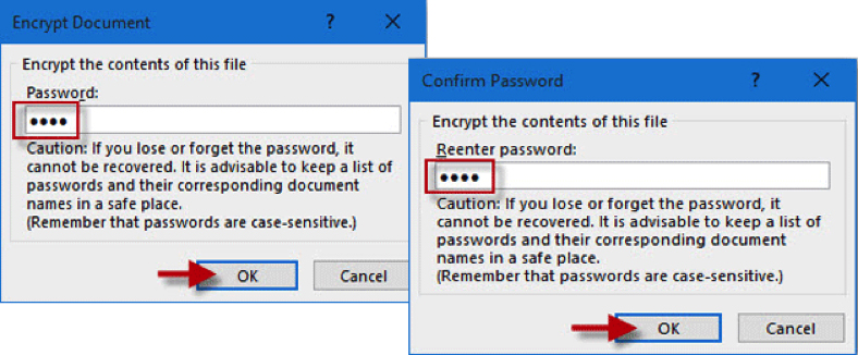 Image: Word encryption password dialogue box