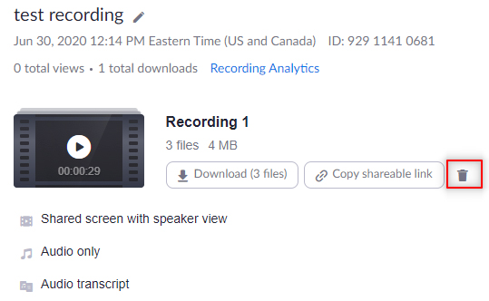 Image: Zoom deleting a single recording