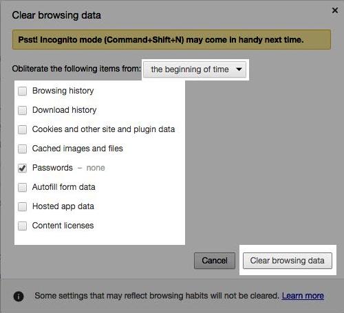 Image: Chrome clear passwords menu screen