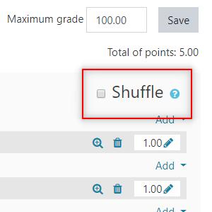 Image: Nexus- shuffle question option in quizzes