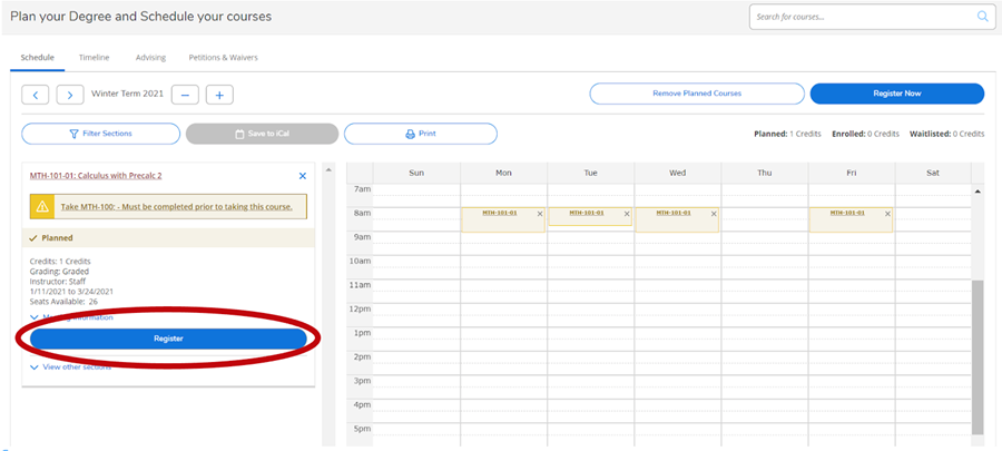Schedule of Student Planning screen with Register button circled in red