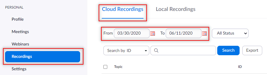 Image: Locating your cloud recording list in Zoom