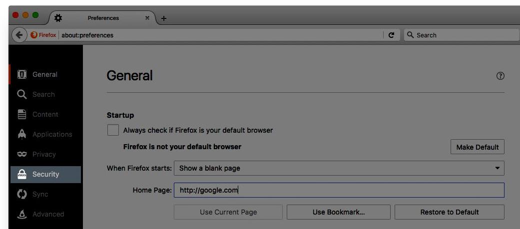 Image: Firefox Security tab
