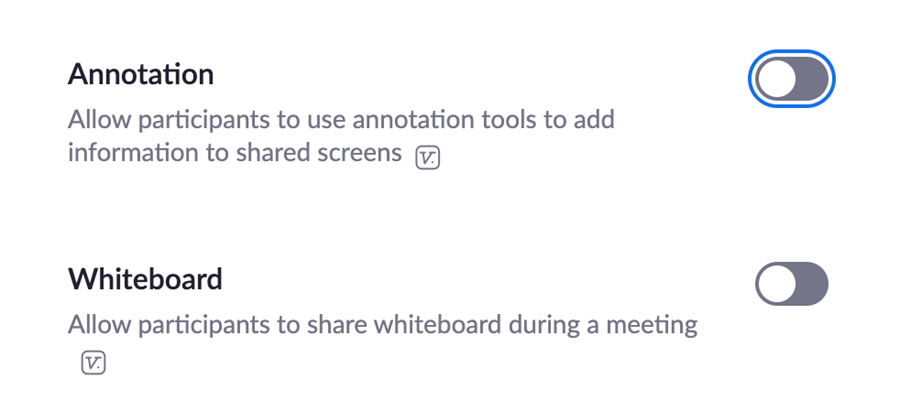 Screenshot of Annotation and Whiteboard Settings in Zoom