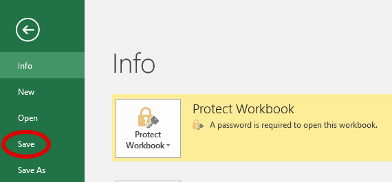 Image: Excel document protected