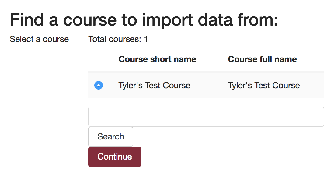 "Screenshot of ""Fin a course to import data from:"""