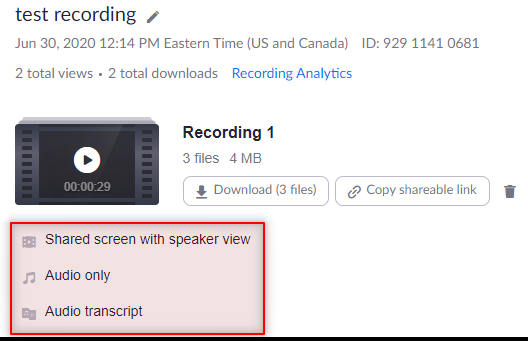 Image: Zoom - downloading individual files for a recording