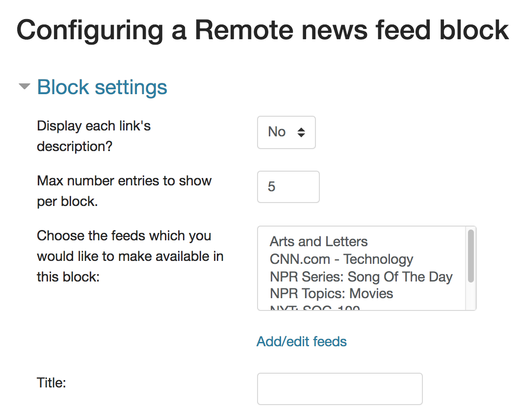 "Screenshot of ""Configuring a Remote news feed block"""