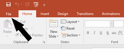Image: Powerpoint File tab