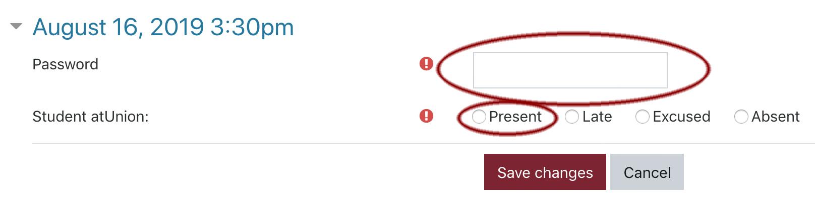 Image: Nexus - student password submit screen