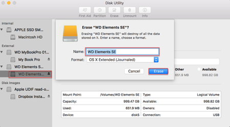Image: Mac Disk Utility/Erase screen