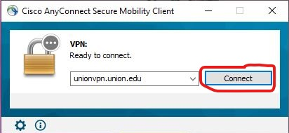 """Image: Cisco AnyConnect VPN """"Connect"""" button"""