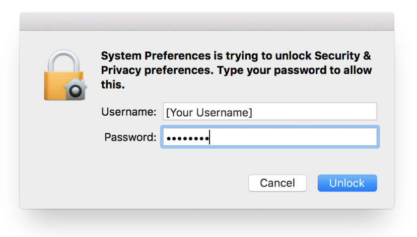 Image: Mac System Preferences username and password entry window