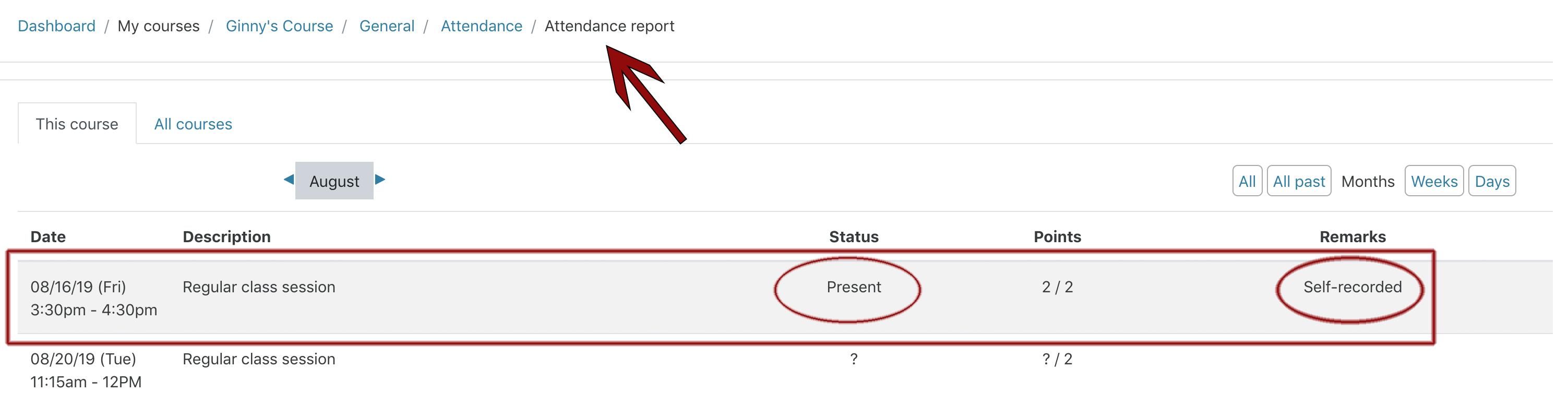 Image: Nexus student attendance report