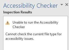 Accessibility checker error