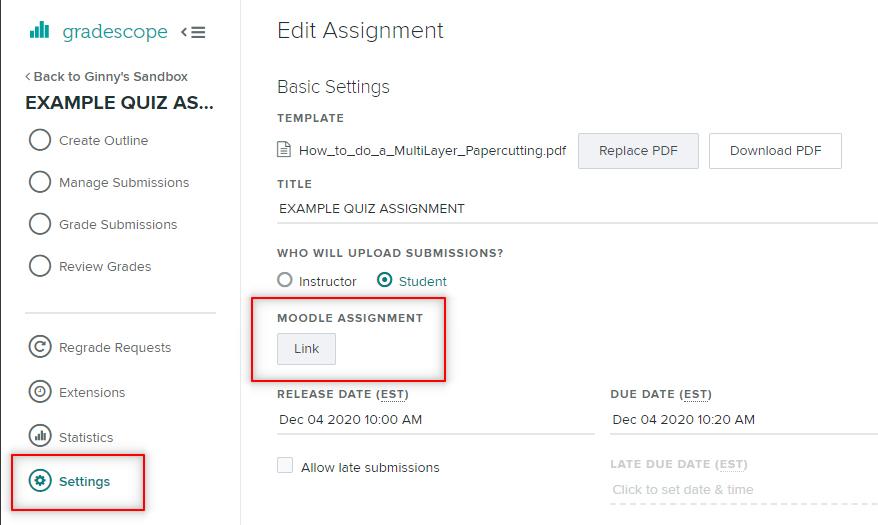 Image: Gradescope link to Nexus assignment