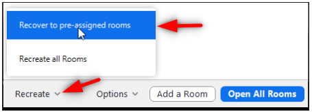 Image: Zoom choosing Recreate and then Recover to pre-assigned rooms