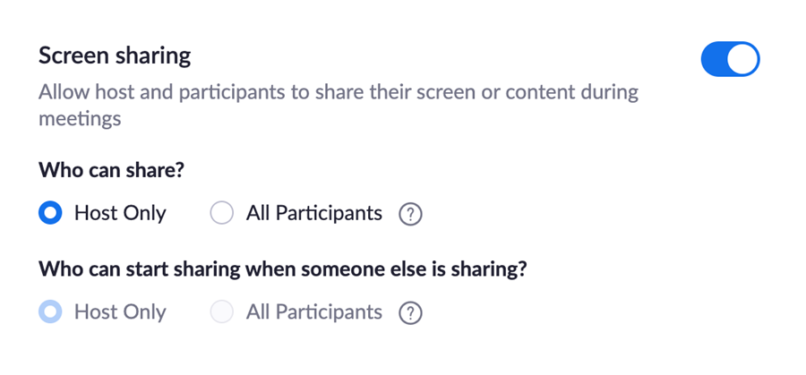 Screen Sharing settings screenshot