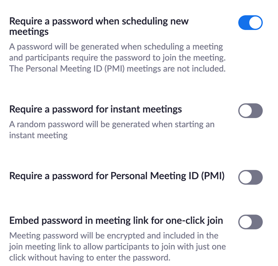 Screenshot of Password options in Zoom settings