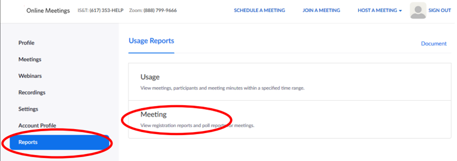 Image: Zoom- getting to the report of your poll by going to Settings | Reports | Meetings