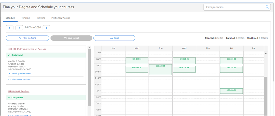 Picture of Schedule on Student Planning with courses shown in green to indicate you are registered