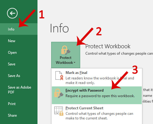 Image: Excel File tab, Protect Option