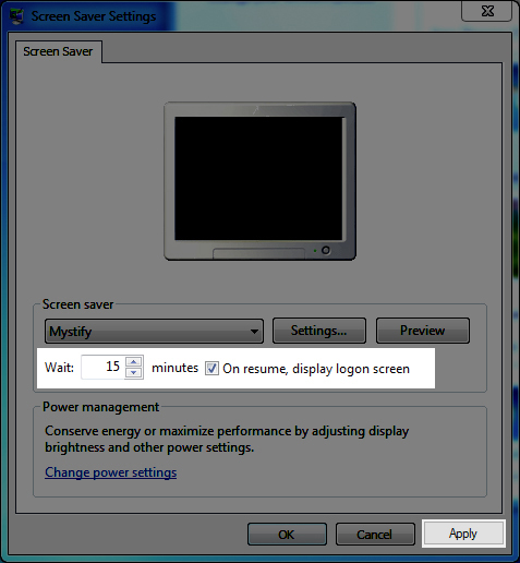 Image: PC screensaver settings