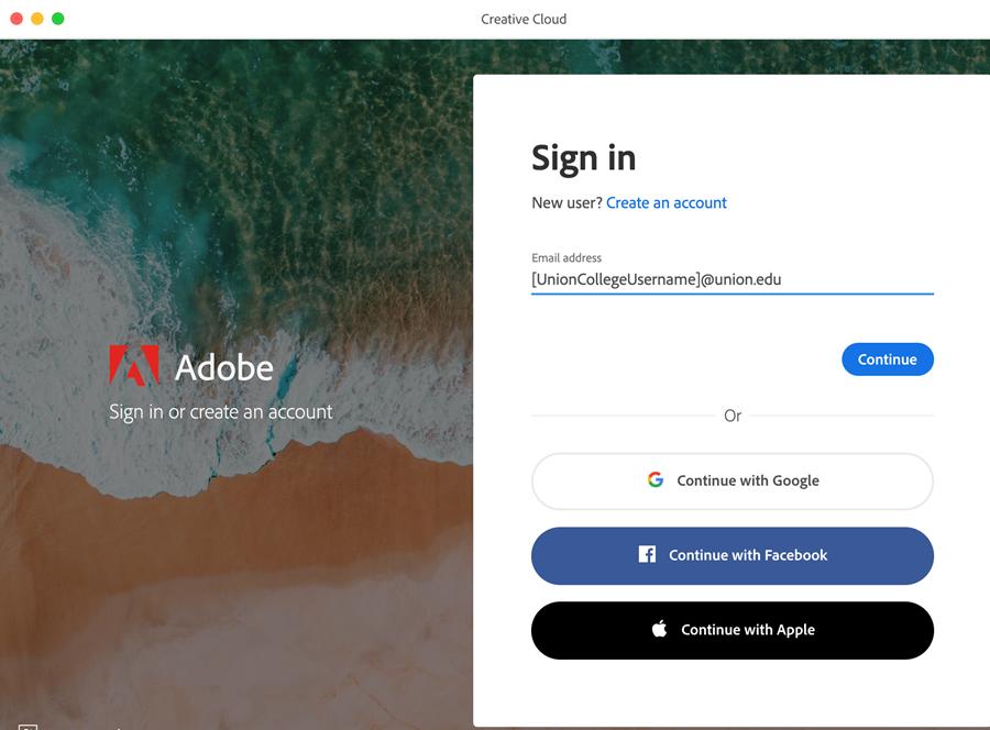 Adobe Creative Cloud Login Screen