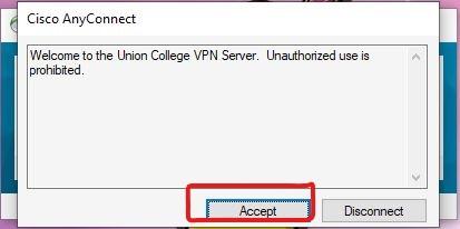 Image: Cisco AnyConnect Accept button