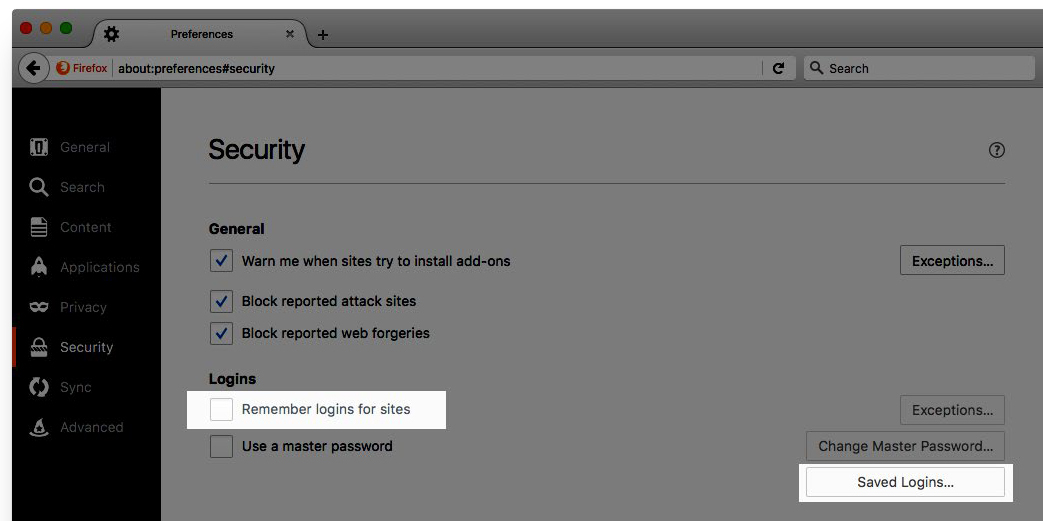 Image: Firefox Remember logins and Saved Logins buttons