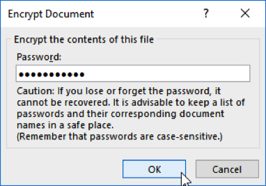 Image: Powerpoint Encrypt Document password dialogue box