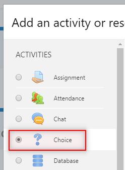 Image: Nexus- selecting the Choice Activity