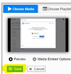 Image: Saving the video choice in Nexus/Ensemble