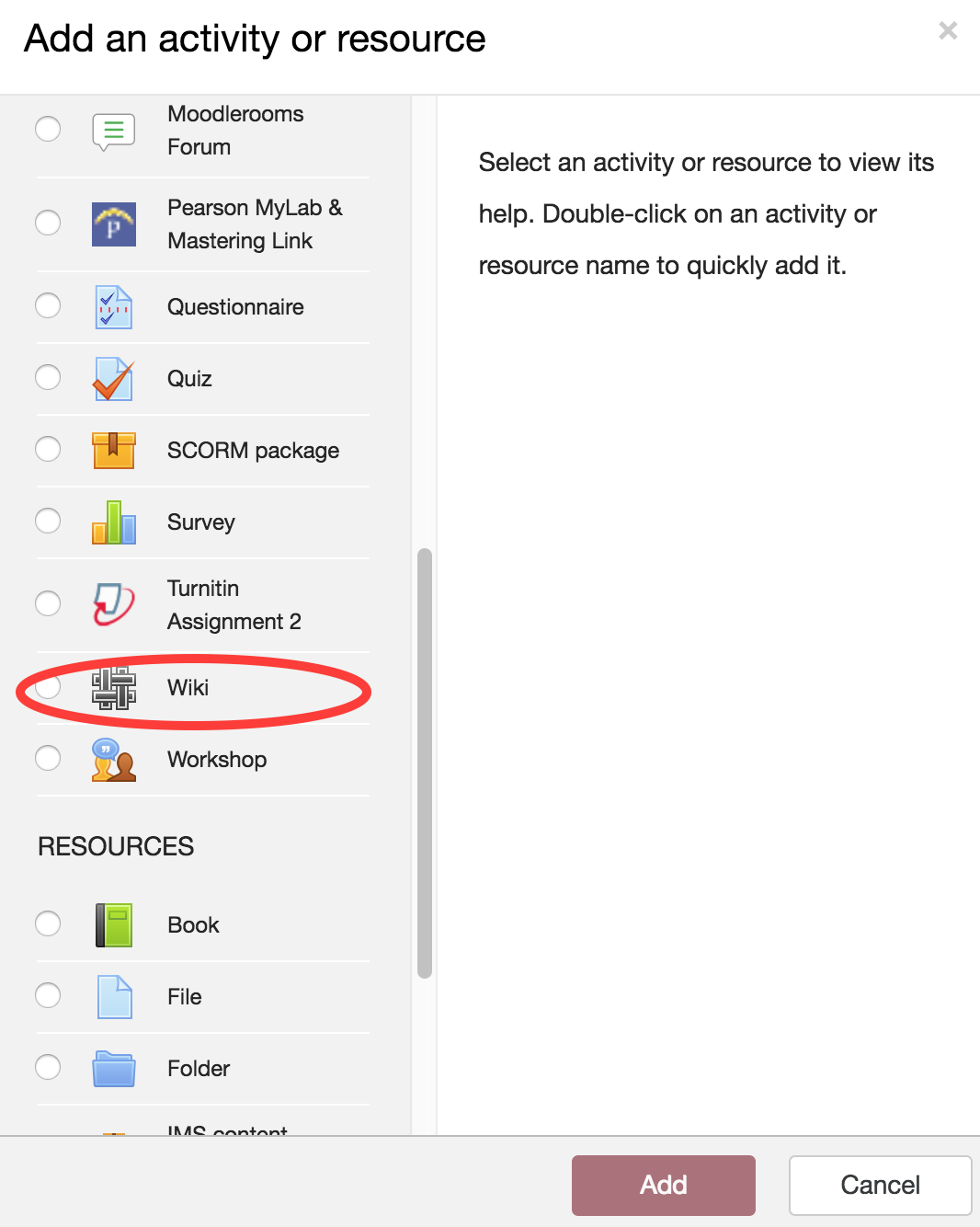 "Screenshot of ""Add an Activity or Resource"" menu"