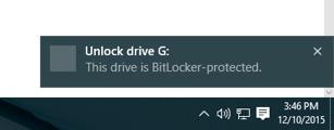 Image: Bitlocker notification